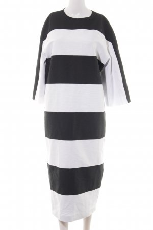 Aigner Langarmkleid schwarz-weiß Streifenmuster schlichter Stil