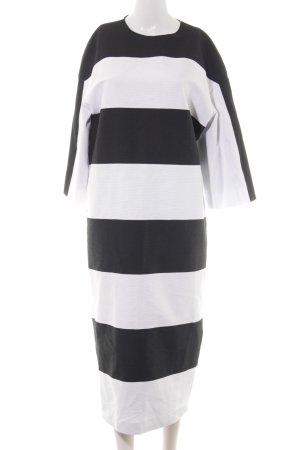 Aigner Vestido de manga larga negro-blanco estampado a rayas estilo sencillo