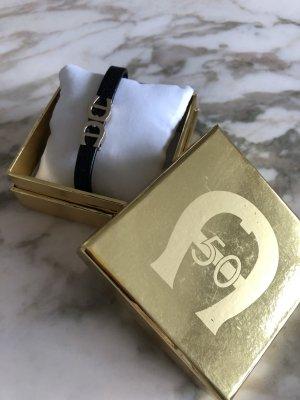 AIGNER Leder Armband schwarz Silber LOGO