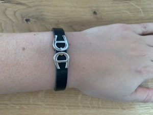 Aigner Leather Bracelet black-silver-colored leather