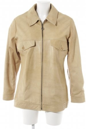 Aigner Lederjacke sandbraun Street-Fashion-Look