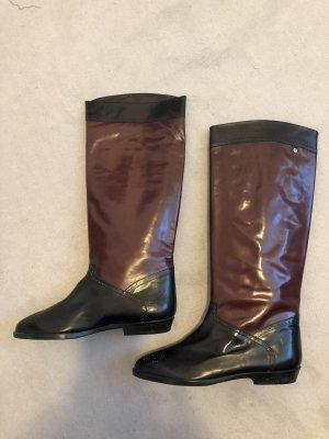 Aigner Lederstiefel Boots schwarz/bordeaux rot