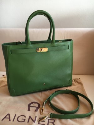 Aigner Minerva Handbag L Handtasche in grün Saffiano Tasche