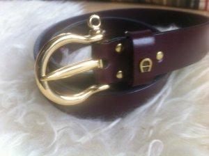 Etienne Aigner Cintura di pelle rosso scuro-carminio Pelle