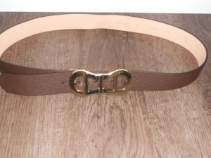 Aigner Leather Belt brown-gold-colored leather