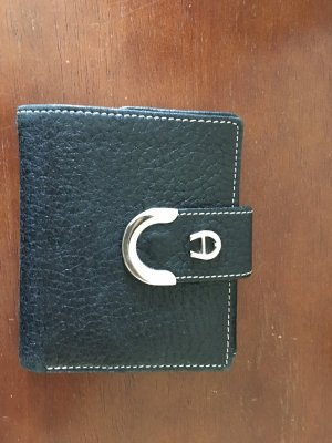 Aigner Wallet black-silver-colored leather