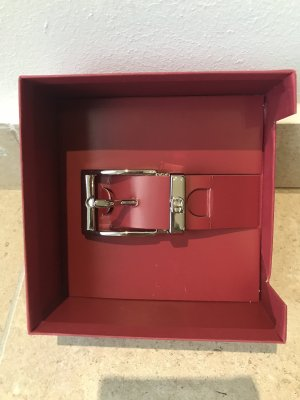 Aigner Leather Belt silver-colored