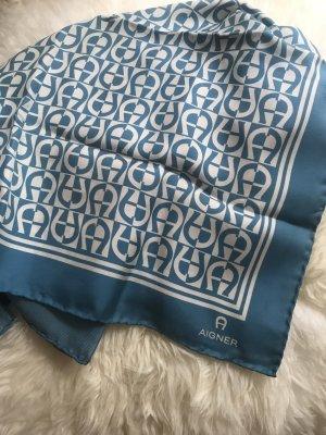 Aigner Zijden doek wit-korenblauw