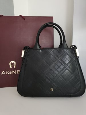 Aigner Handbag black-gold-colored leather