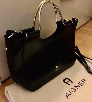 Aigner Tasche Schultertasche schwarz Leder