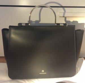 Aigner Tasche Shopper schwarz Leder neu mit Etiketten und Rechnung