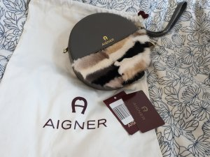Aigner Clutch silver-colored leather
