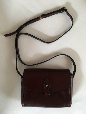 Aigner Vintage Leder Schultertasche Bordeaux