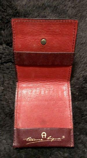 AIGNER Vintage Streichholz-Etui  / Leder / bordeaux