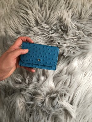 Aigner Card Case neon blue leather