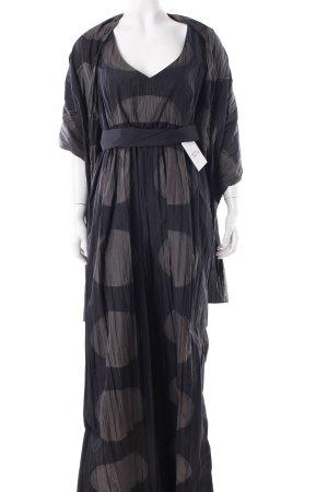 Airfield Abendkleid schwarz-graubraun Punktemuster Eleganz-Look