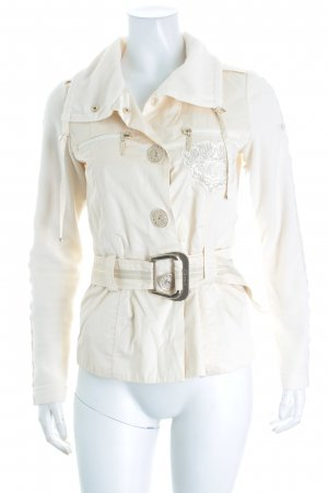 Airfield Fleecejacke creme Materialmix-Look