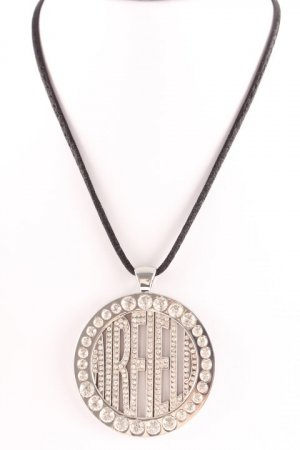 Airfield Necklace silver-colored printed lettering wet-look