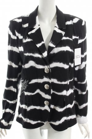 Airfield Jersey Blazer black-white striped pattern Embroidered ornaments