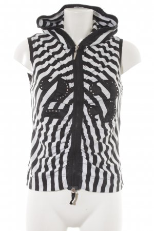 Airfield Hooded Vest black-white striped pattern casual look