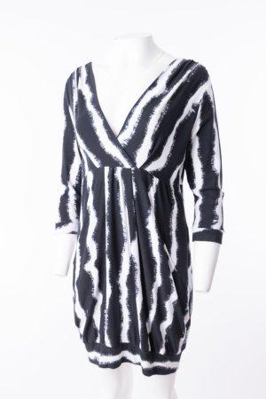 AIRFIELD - Kleid in Wickeloptik Schwarz-Weiß gemustert