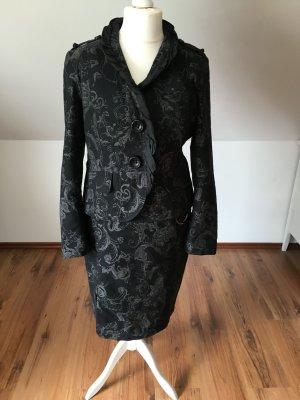 Airfield Kostüm Blazer Rock Business Outfit floral schwarz grau 42 Set paisley