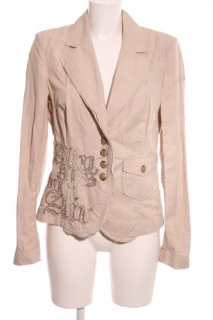 Airfield Long Blazer nude embroidered lettering casual look