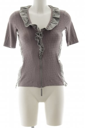 Airfield Ruche blouse mauve-grijs abstracte print casual uitstraling