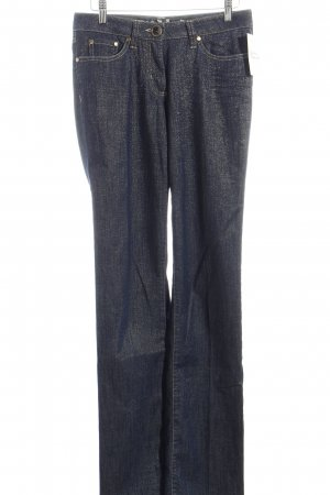 Airfield Straight-Leg Jeans dunkelblau-goldfarben Glitzer-Optik