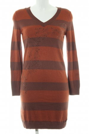 Airfield Knitted Dress light brown-cognac-coloured striped pattern casual look