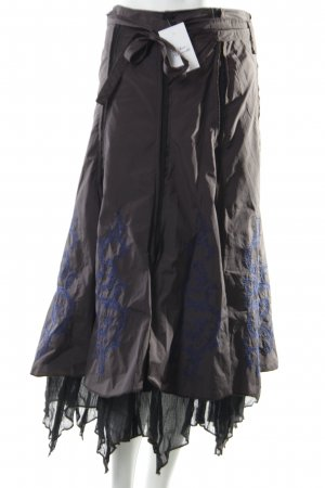 Airfield Circle Skirt brown violet floral pattern extravagant style