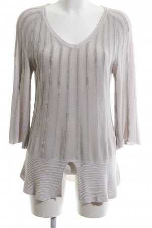 Airfield V-Neck Sweater light grey striped pattern casual look