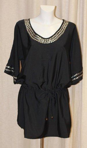 Ajc Bluse Tunika Mini Kleid Strand Kleid Größe 34/36 Farbe schwarz NEU