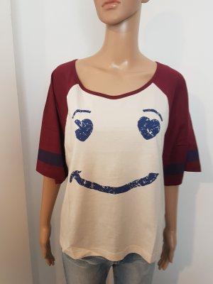 AJC Damen Shirt T-Shirt oversized Smiley Druck Größe 36/38 NEU
