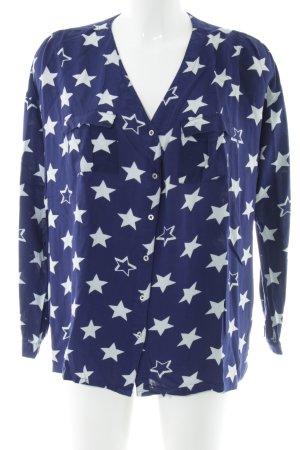 AJC Langarm-Bluse blau-weiß Allover-Druck Casual-Look