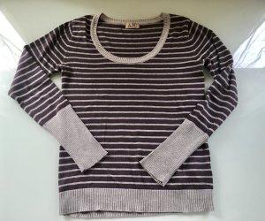 AJC Pullover Rundhalsausschnitt  Gr. 36/38 grau-violette-schwarz gestreift