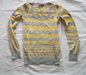 AJC Maglione di lana grigio-giallo lime