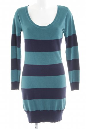 AJC Knitted Dress blue-turquoise striped pattern casual look