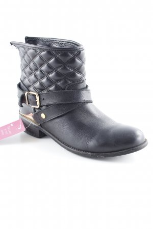 Akira Ankle Boots black-gold-colored biker look