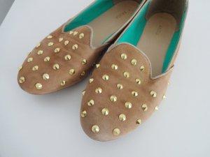 Akira Loafers Slippers Ballerinas Nieten Gold Nude Leder