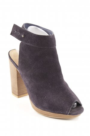 Akira Peep Toe Booties dark blue-light brown casual look