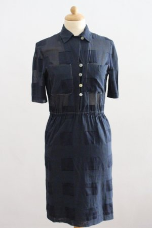 Akris Blouse Dress steel blue-cornflower blue cotton