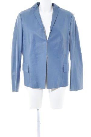 Akris Blazer in pelle blu fiordaliso stile professionale