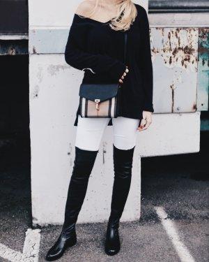 Akris V-Ausschnitt-Pullover blau-weiß