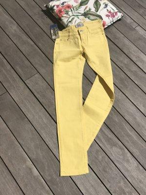 Pantalon cinq poches jaune-argenté coton