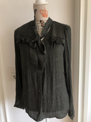 Promod Tie-neck Blouse dark green