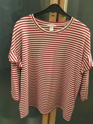 Camisa rojo-blanco tejido mezclado
