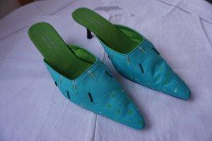 Sandalo con tacco turchese-verde prato