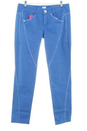 Alba Moda Pantalón tobillero azul-color plata estilo extravagante