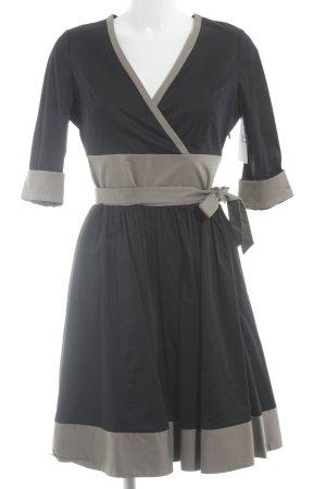 Alba Moda A-Linien Kleid schwarz-grüngrau Colourblocking Casual-Look